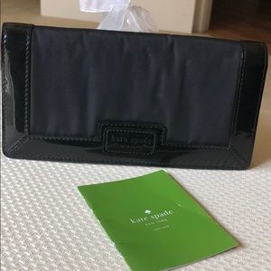 Kate Spade black leather/nylon wallet